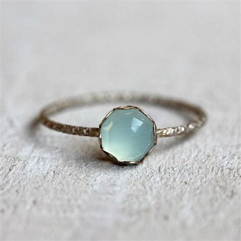 gemstone ring blue chalcedony ring engagement ring
