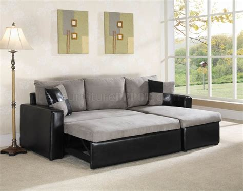 Storage Sectional Sofa Grey Fabric Black Vinyl Modern Sectional Sofa W Storage