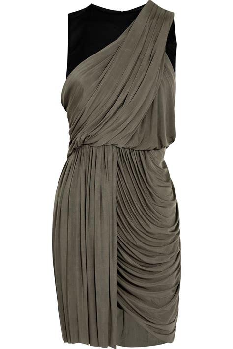 jersey draped dress alexander wang draped jersey dress in gray lyst