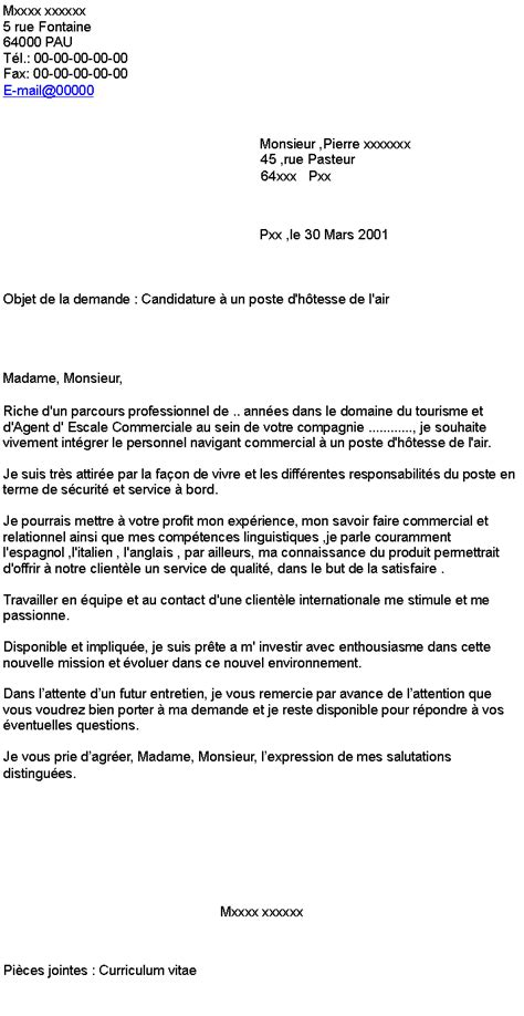 Lettre De Motivation De Transport Candidature 224 Un Poste D H 244 Tesse De L Air