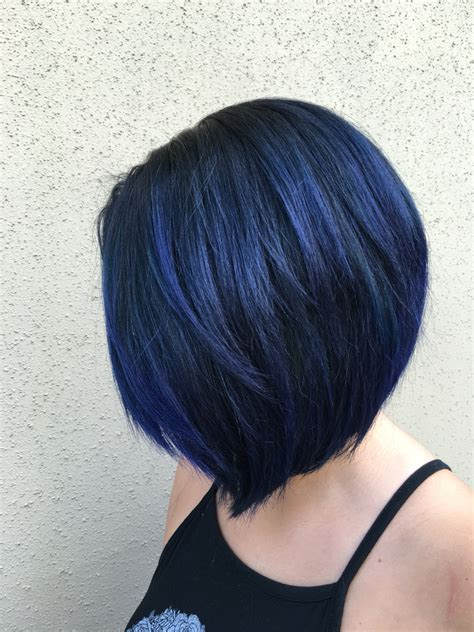 blue gray burr cut hair blue black bob using pulp riot hair color by xostylistxo