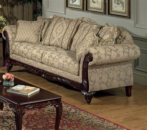 traditional fabric sofa beige clarissa carmel fabric traditional 2pc sofa