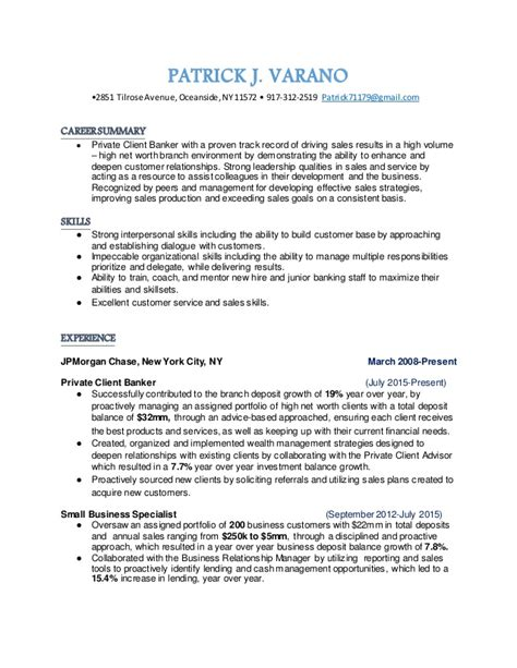 Banker Resume by Client Banker Resume From Nyc