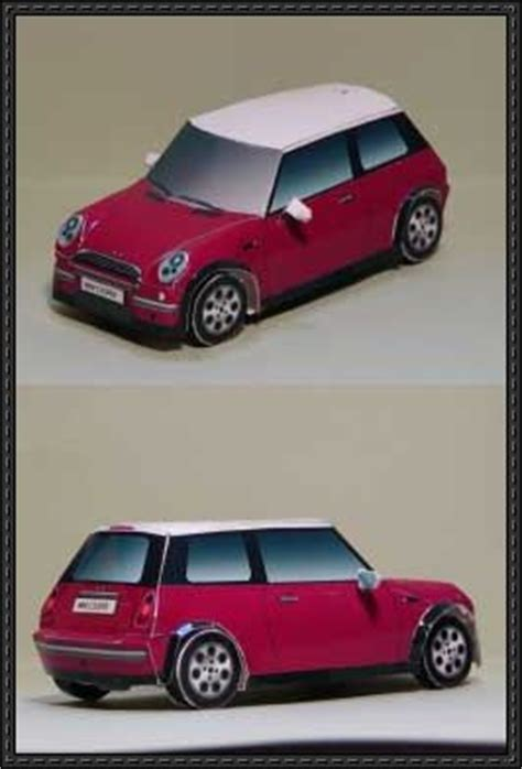 Mini Cooper Papercraft - 2001 mini cooper paper car free paper model