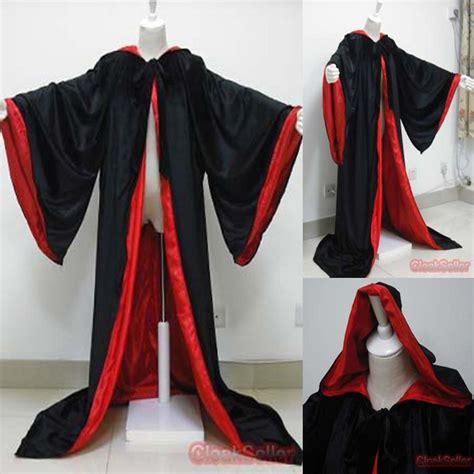 larp robe new stock black velvet robe hooded cloak wizard cloak