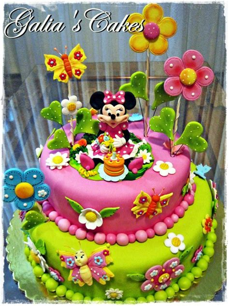 Topper Cake Mickey Mouse Toping Kue Hiasan Kue Cake Topper minnie garden flowers butterfly colorful cake from galia s cakes http media cache ak0