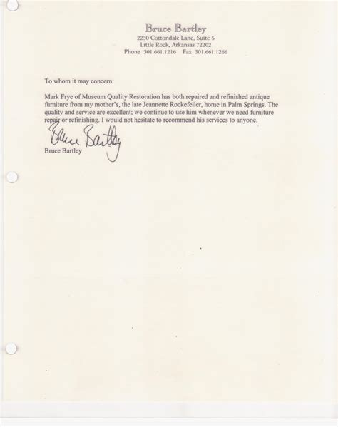 Letter Of Recommendation Quality testimonials museum quality restoration services