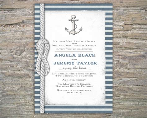Nautical Invitation Diy Printable Invite For Wedding Or Event On Luulla Anchor Wedding Invitation Templates