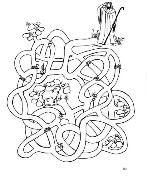 lost sheep maze colouring pages
