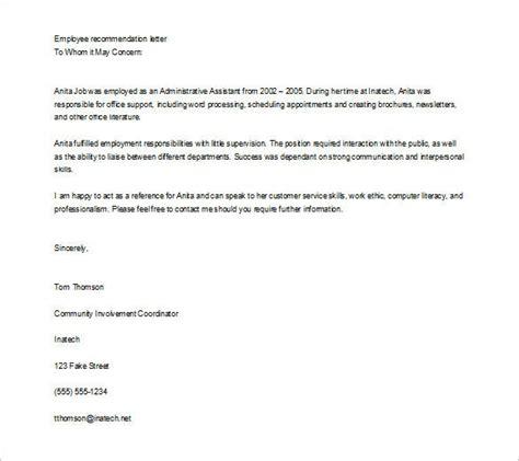 job recommendation letters sample