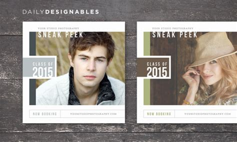Senior Photography Modern Sneak Peek Board For Blogs Facebook Instagram Senior Magazine Templates For Photographers