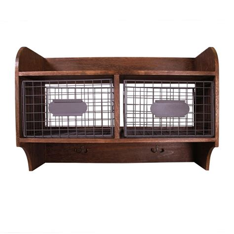 Wall Shelf With Baskets And Hooks by Jia Home 24 In W X 10 In D Wood Wall Shelf With 2 Wire