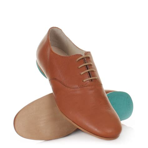 womens fly fofi brown leather lace up smart casual