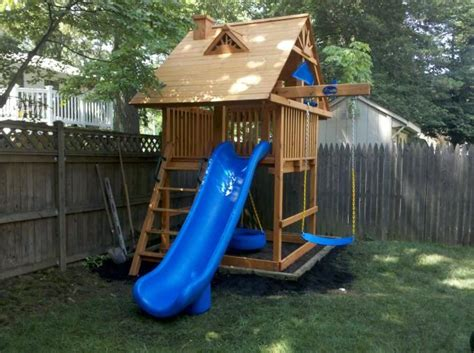 small backyard playground space saver swing set happy childhood things pinterest