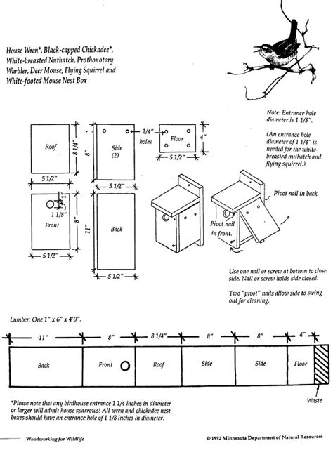 Chickadee House Plans Pdf Diy Wren And Chickadee Bird House Plans Outdoor Bench Woodworking Plans Woodproject