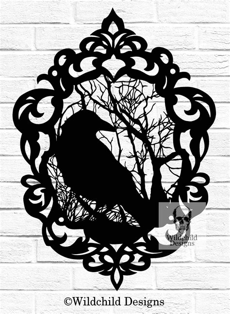 Gothic Cameo Crow Paper Cutting Template Raven Silhouette Silhouette Templates For Paper Cutting
