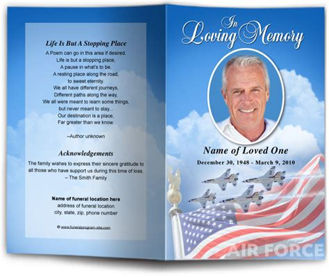Patriotic Military Funeral Templates Programs Free Patriotic Funeral Program Template