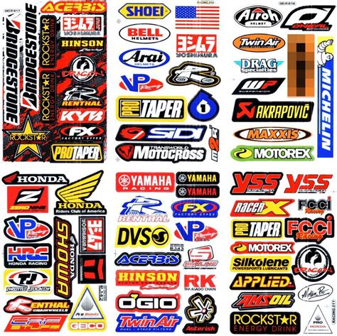 Rennsport Aufkleber by 6 Sheets New Multi Logo Car Motocross Atv Enduro Bike