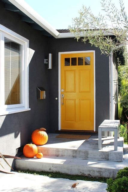 Grey House Yellow Door by Pierson S Bright And Cheerful Home House Tour