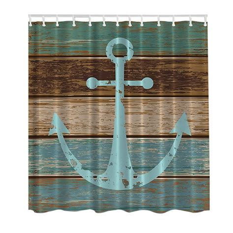 anchor shower curtain hooks new 3d nautical anchor map print bathroom set fabric