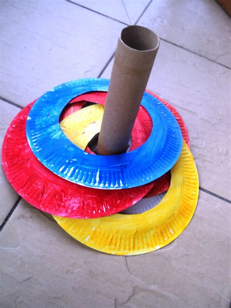 a learning for two paper plate ring toss