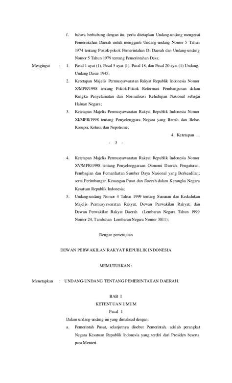 Undang Undang Pemda Pemerintah Daerah Uu Ri No 23 Tahun 2014 undang undang no 22 tahun 1999 tentang pemerintah daerah
