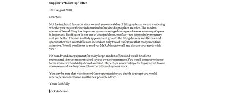 business letter sles effective follow up letters