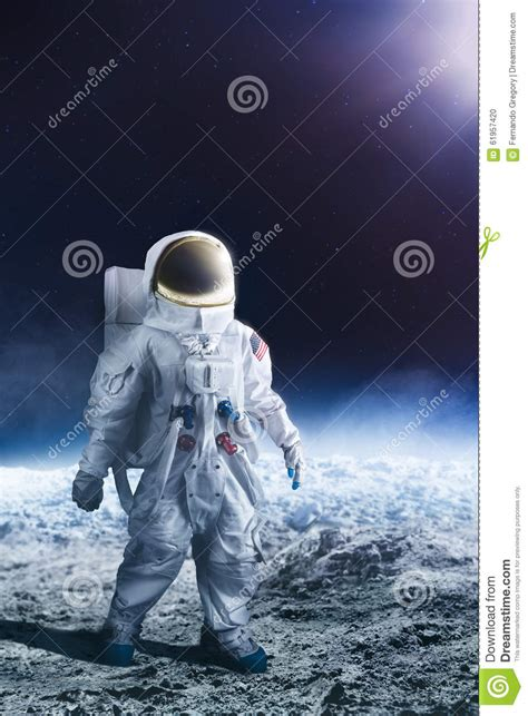 Walking To The Moon astronaut walking on the moon stock photo image 61957420