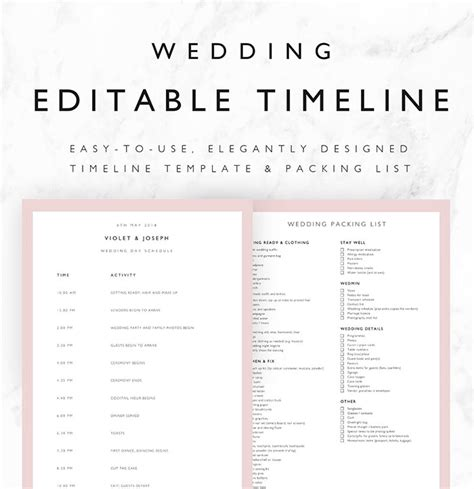 25 Beautiful Wedding Timeline Templates Mashtrelo Day Of Wedding Timeline Template Free
