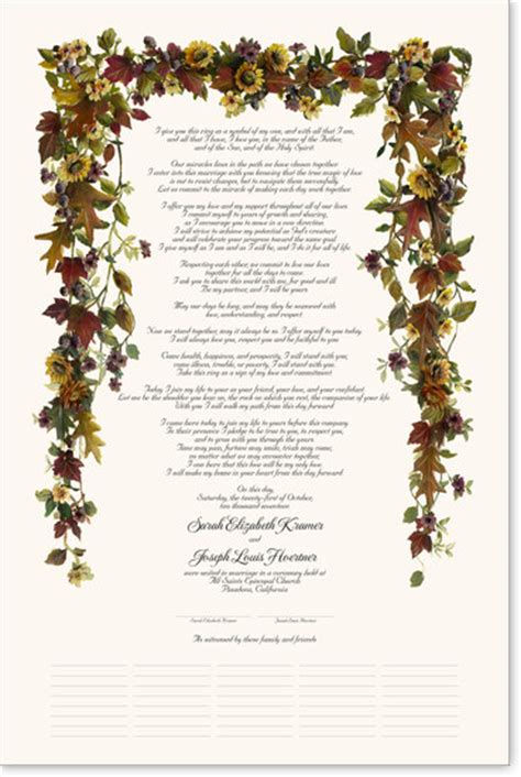Wedding Blessing Certificate by Quaker Style Wedding Certificates And Commitment Ceremony