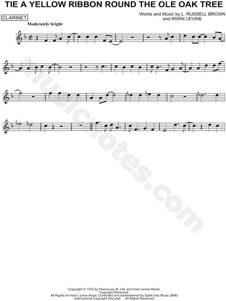 lyrics to oke christmas tree tony orlando quot tie a yellow ribbon the ole oak tree quot sheet clarinet in