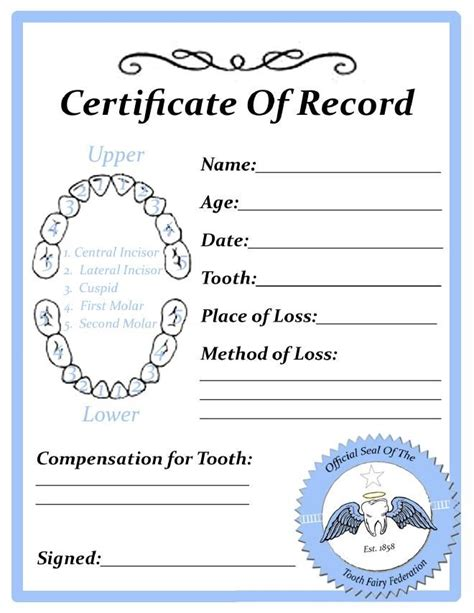 free printable tooth certificate template tooth certificate kid stuff