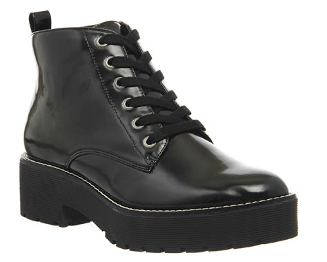 black chunky boots office iona chunky lace up ankle boots in black lyst