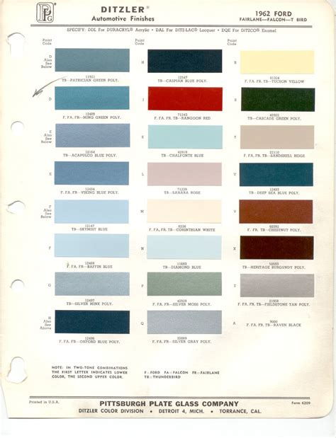 ford paint colors 1962 ford thunderbird paint colors