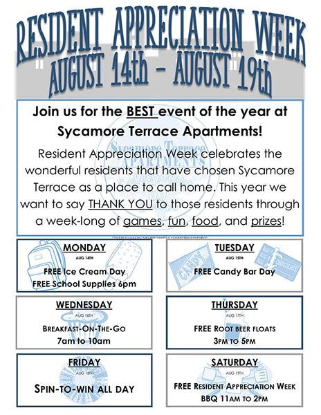 Sycamore Terrace Apartments Brings Back Resident Appreciation Week Resident Appreciation Week Flyer Template