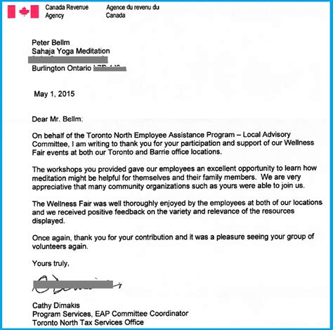 Letter Cra Cra S Thank You Letter Sahaja Meditation Canada Revenue Agency S Health Fairs