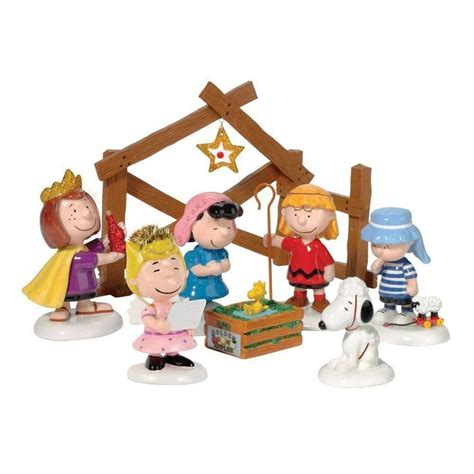 peanuts charlie brown christmas pageant nativity set of 8