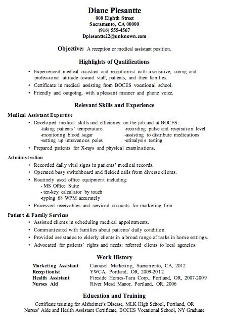 resume sle receptionist or assistant new