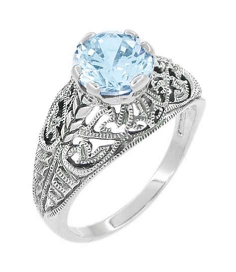 Blue Topaz 6 45 Carat edwardian filigree 1 45 carat blue topaz promise ring in