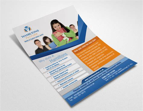 leaflet design for tuition bold professional flyer design for hamiltons tuition ltd