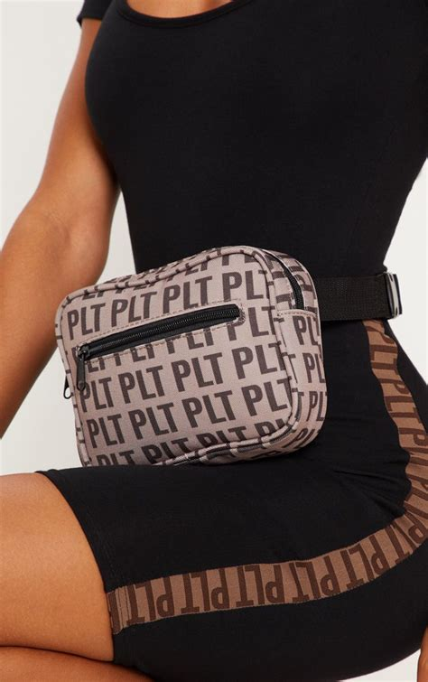 plt brown monogram bum bag accessories prettylittlething