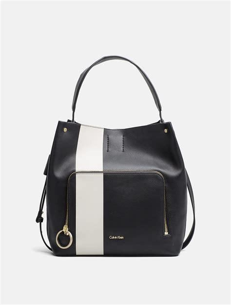 Ck Magnetic With Mini Bag lyst calvin klein large stripe hobo bag in black