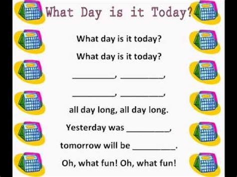 today is what day in week what day is it today days of the week rhymes songs