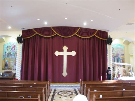 church curtains and drapes church altar curtains with cross appliqu 233 church stage