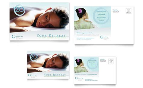 day spa resort postcard template design