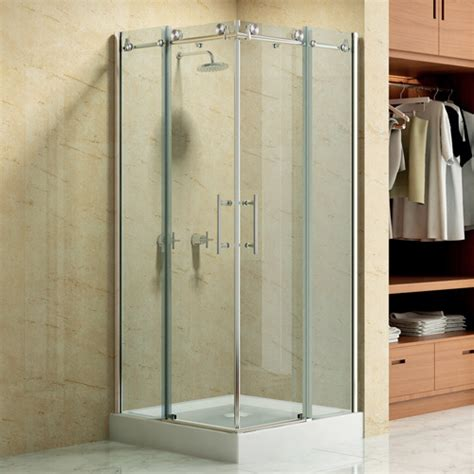 36 Quot X 36 Quot Square Frameless Corner Shower Enclosure With Shower Stall Doors