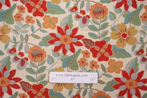 Poppy Upholstery Fabric by Robert Allen Garden Toss Tapestry Upholstery Fabric In Poppy
