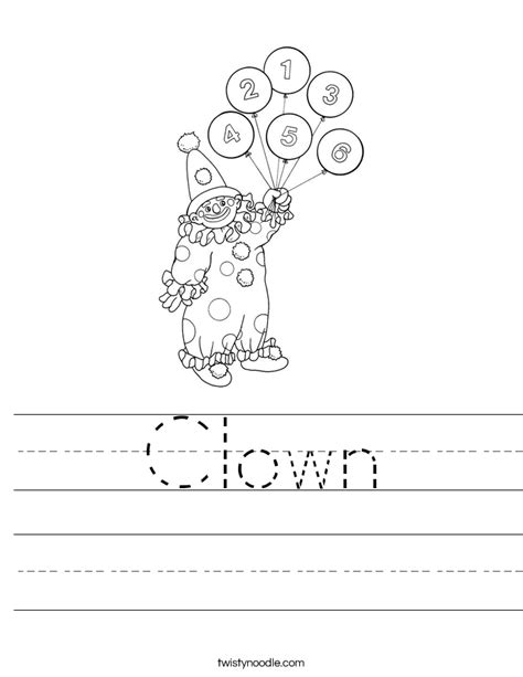 Clown Worksheets by Clown Worksheet Twisty Noodle