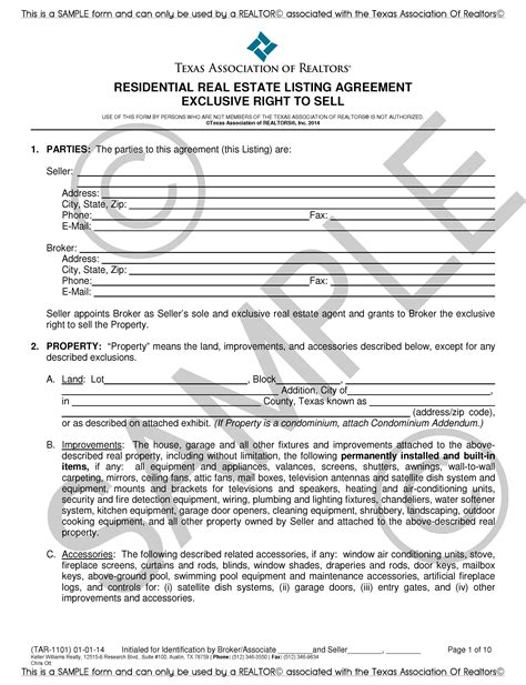 Tar 1101 Residential Real Estate Listing Agreement Exclusive Right To Sell Exclusive Right To Sell Agreement Template