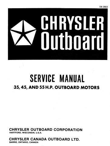 Chrysler Outboard 35 45 55 Hp Service Repair Manual Pdf